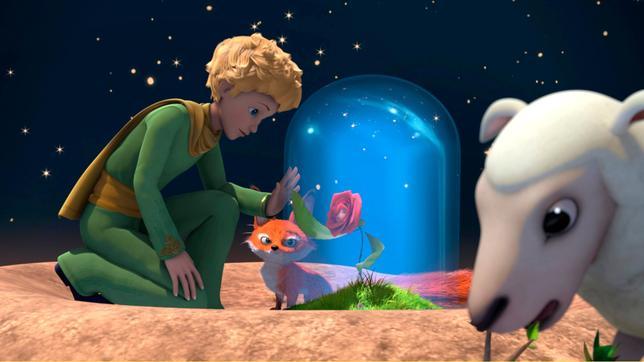 Der kleine Prinz lässt Fuchs und Rose allein auf seinem Asteroiden B612 zurück.