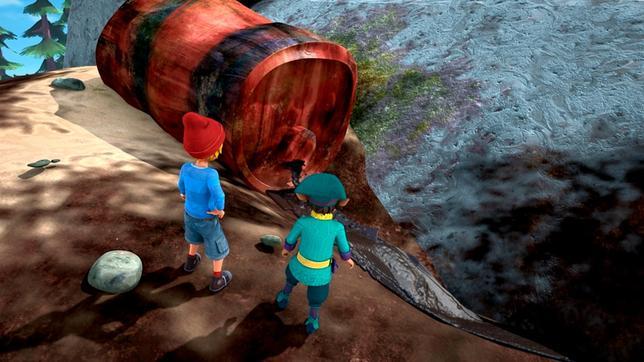 Nils und Morlo finden den Ursprung von Roburs Übel: Ein leckendes Ölfass.