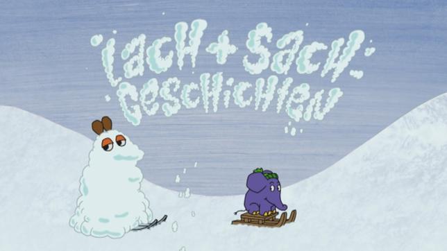 Maus und Elefant im Schnee