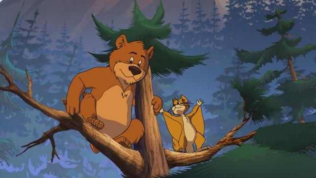 Bär Honigtau will vom Flughörnchen fliegen lernen.