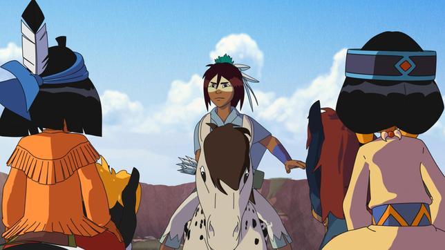 Freies Pferd hilft Yakari und Regenbogen, nach dem Pferdedieb Ausschau zu halten.