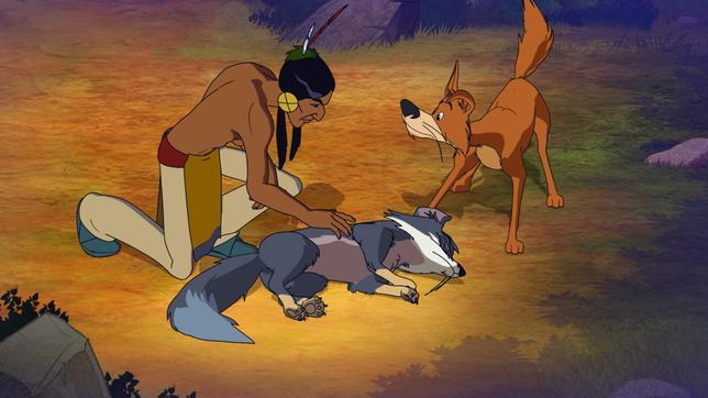 Fuchs Silberfell stellt sich tot vor Jäger Stolze Wolke und Hund Knickohr.