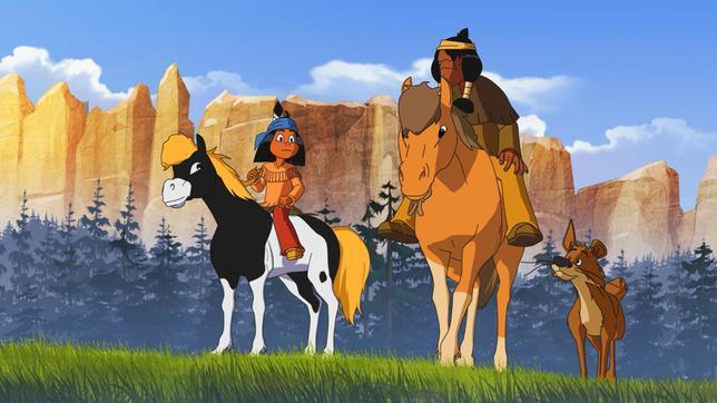 Yakari mit Müder Krieger und Hund Knickohr auf dem Weg zum Bäumeschlagen für neue Tipis.
