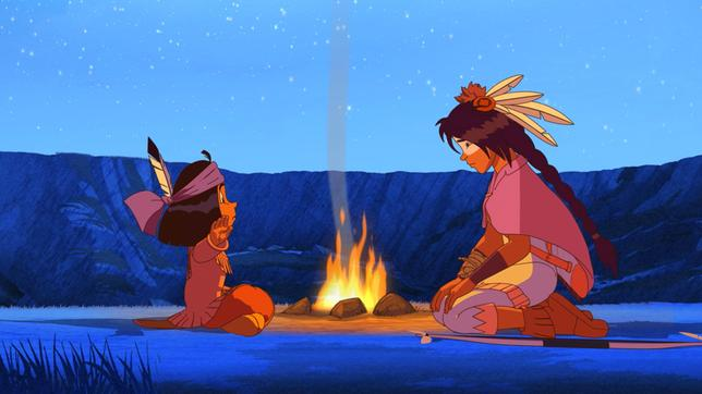 Yakari und Freies Pferd am Feuer.