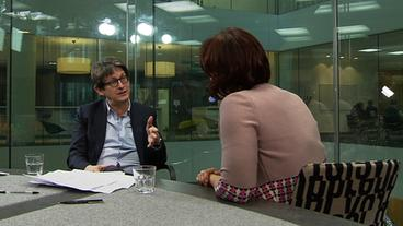 "Annette Dittert im Interview mit ""Guardian""-Herausgeber Alan Rusbridger"