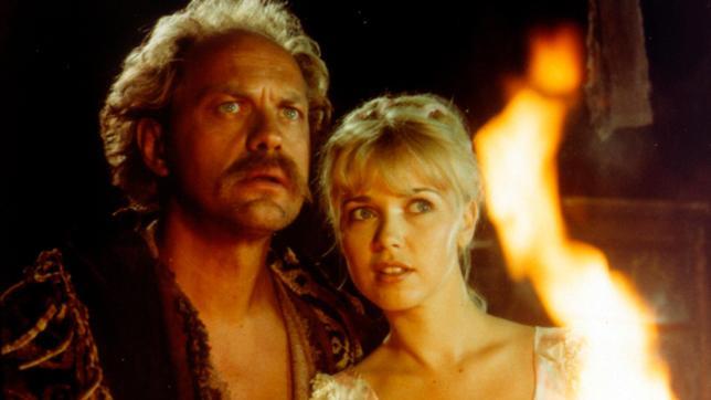 Der Landstreicher Griffig (Uwe Ochsenknecht) will der Prinzessin Blanka (Tina Ruland) bei der Suche nach dem gestohlenen Zauberbeutel helfen.