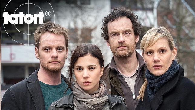 Die Kommissare v.l.n.r. Daniel Kossik (Stefan Konarske), Nora Dalay (Aylin Tezel), Peter Faber (Jörg Hartmann) und Martina Böhnisch (Anna Schudt).