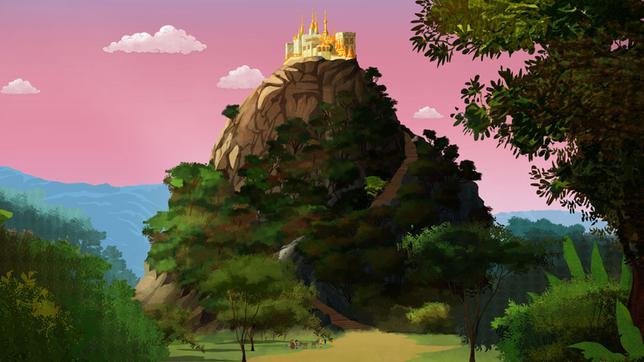 Die vier Freunde stehen am Fuß des Berges.
