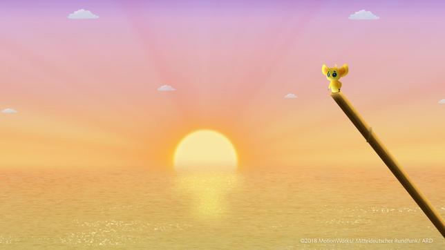 Fu Fu blickt erlebt einen wunderschönen Sonnenuntergang.