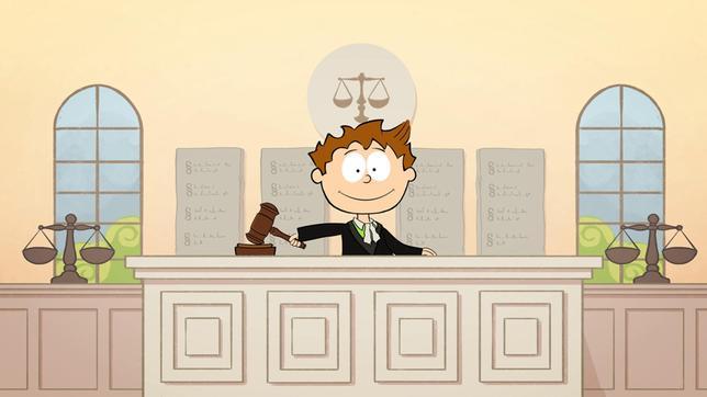 Was ist gerecht? Wie kann man für mehr Gerechtigkeit in der Welt sorgen? Diesen und anderen wichtigen Fragen gehen der kleine Philosoph Knietzsche und Moderator Felix in der Sendung nach. - Knietzsche als Richter