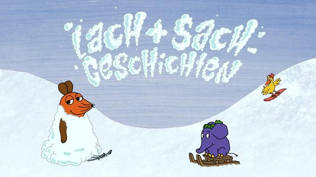 Maus fährt Ski, Elefant rodelt auf einem Schlitten, Ente fährt Snowboard
