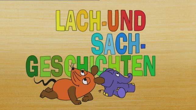Maus und Elefant sitzen unter dem bunten Schriftzug Lach- und Sachgeschichten