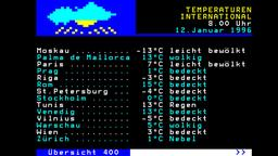 Das Wetter mit den internationalen Temperaturen vom 12. Januar 1996