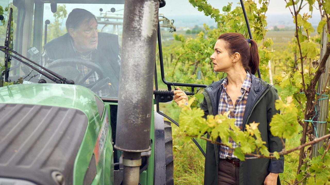 Dieter Ardenberger wird von Anne im Traktor angehalten